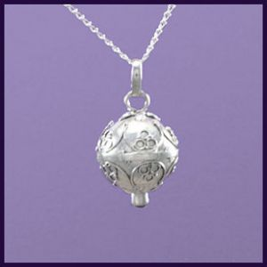 Sterling Silver Angel Wing Heart Locket - Purple Enchantments